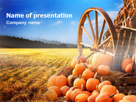 Pumpkin Field PowerPoint Template, 00474, Agriculture — PoweredTemplate.com