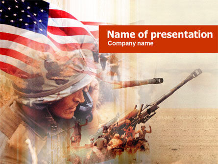 Military: American Artillery PowerPoint Template #00485