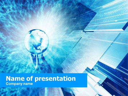 Crystal Globe In Hand PowerPoint Template
