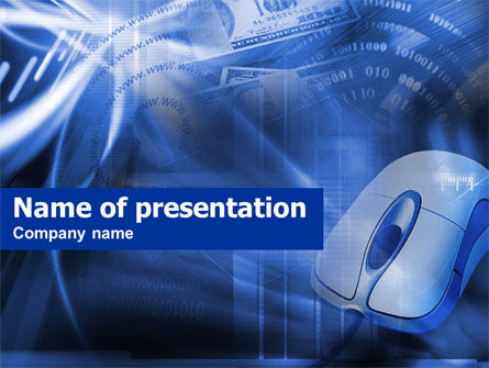 E-Commerce In Blue Colors PowerPoint Template, 00491, Business Concepts — PoweredTemplate.com