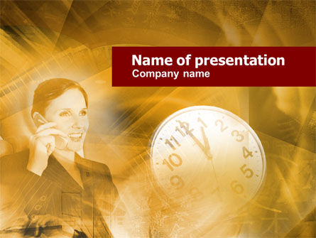 Business Lady Calling PowerPoint Template