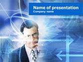 Business Concepts: Businessman Thinking PowerPoint Template #00498