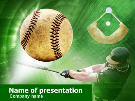 baseball hit powerpoint template, backgrounds | 00507, Powerpoint templates