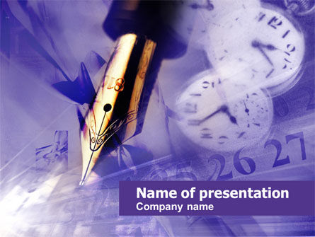 Fountain Pen On The Light Violet PowerPoint Template