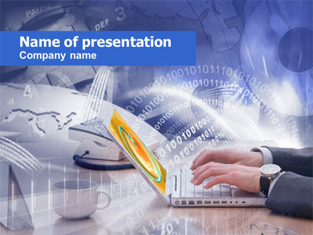 Working In The Net PowerPoint Template, 00522, Telecommunication — PoweredTemplate.com