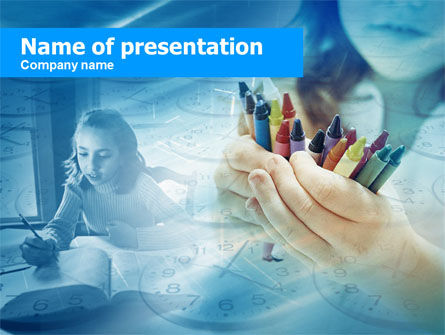 Crayons in Hands PowerPoint Template