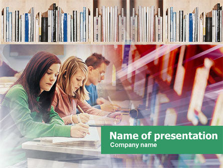 Studying in Library PowerPoint Template, 00525, Education & Training — PoweredTemplate.com