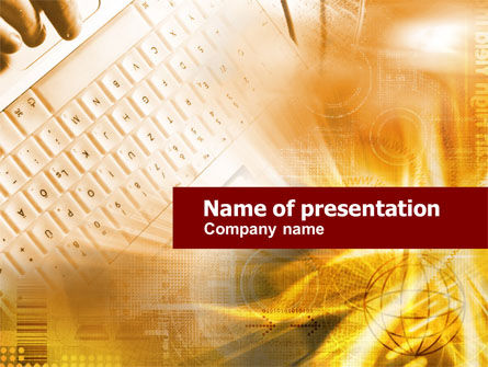 Telecommunication: White Keyboard In Orange Colors PowerPoint Template #00539
