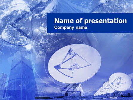 Telecommunication: Parabolic Antennas PowerPoint Template #00541