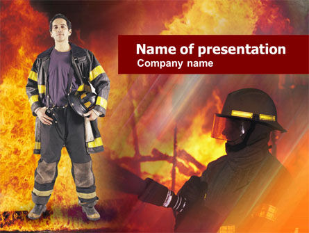 Fireman Free PowerPoint Template, 00543, Careers/Industry — PoweredTemplate.com