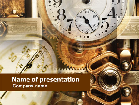 Business Concepts: Clock Mechanism PowerPoint Template #00603