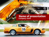 Cars and Transportation: Muscle Car Races PowerPoint Template #00609