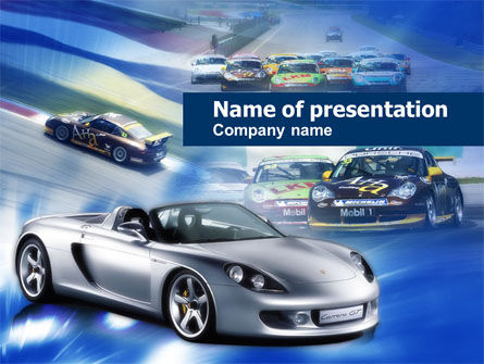 Cars and Transportation: Sportwagen Races PowerPoint Template #00610