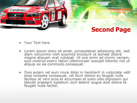 Rally Car PowerPoint Template, Slide 2, 00611, Sports — PoweredTemplate.com
