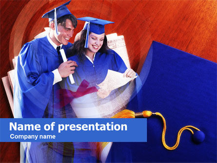 Education & Training: Graduator Students with Diploma PowerPoint Template #00629