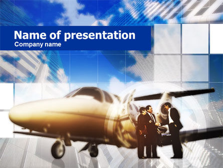 Private Jet PowerPoint Template, 00644, Cars and Transportation — PoweredTemplate.com