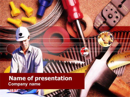 Electrician Tools PowerPoint Template 00645 Utilities Industrial PoweredTemplate
