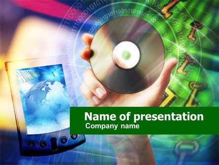 Compact Disc PowerPoint Template, 00652, Technology and Science — PoweredTemplate.com
