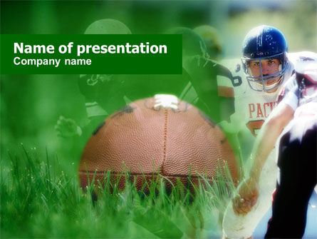 Sports: American Football In A Green Grass PowerPoint Template #00655