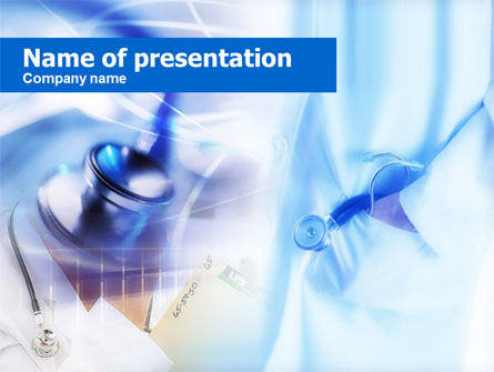 Medical: Templat PowerPoint Stetoskop Dengan Warna Biru Muda #00665