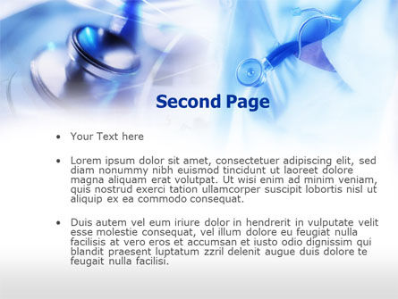 Stethoscope In Light Blue Colors PowerPoint Template, Slide 2, 00665, Medical — PoweredTemplate.com