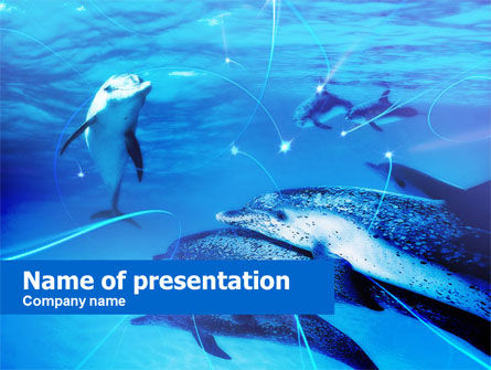 Nature & Environment: Dolphins Under The Sea PowerPoint Template #00674