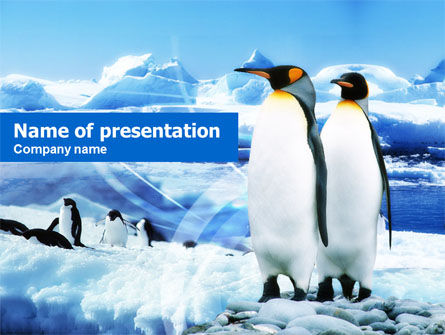 Animals and Pets: Penguin Couple PowerPoint Template #00675