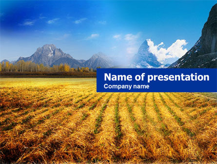 Nature & Environment: Field after Harvest PowerPoint Template #00685
