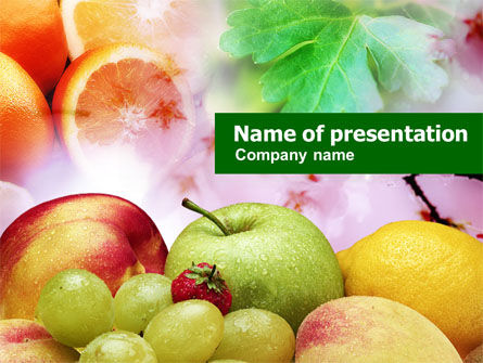 Fresh Fruits Of Summer Powerpoint Template, Backgrounds | 00689