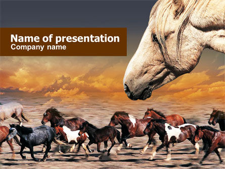 Animals and Pets: Wild Horses PowerPoint Template #00690