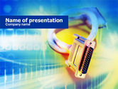 Telecommunication: Connector Of Cable PowerPoint Template #00691