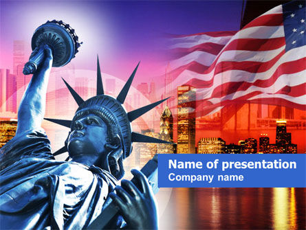 America: Liberty Enlightening the World PowerPoint Template #00696