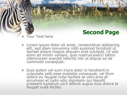 Zebra On A Green Savanna PowerPoint Template, Slide 2, 00697, Animals and Pets — PoweredTemplate.com