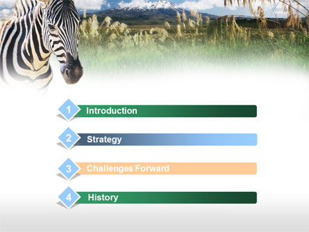 Zebra on a green savanna powerpoint template backgrounds 00697 zebra on a green savanna powerpoint template slide 3 00697 animals and pets toneelgroepblik Image collections