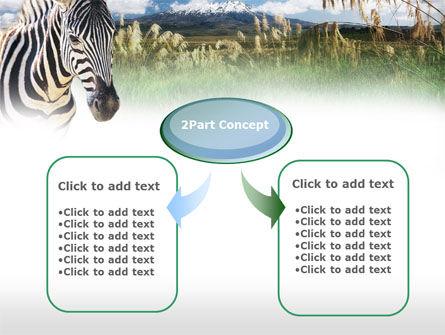 Zebra On A Green Savanna PowerPoint Template, Slide 4, 00697, Animals and Pets — PoweredTemplate.com
