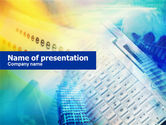 Technology and Science: Yellow Blue Keyboard PowerPoint Template #00713