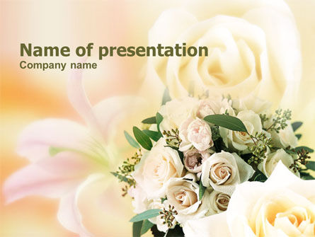 Tea Roses Wedding Bouquet PowerPoint Template