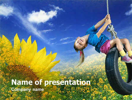 Tire Swing PowerPoint Template, 00731, People — PoweredTemplate.com
