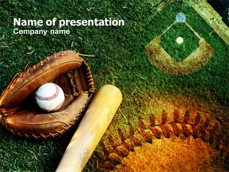 Sports: Bat and Glove PowerPoint Template #00736