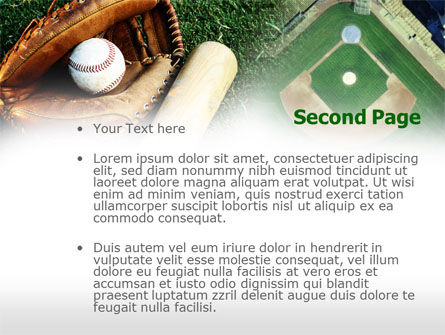 Bat and Glove PowerPoint Template, Slide 2, 00736, Sports — PoweredTemplate.com
