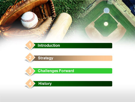 Bat and Glove PowerPoint Template, Slide 3, 00736, Sports — PoweredTemplate.com