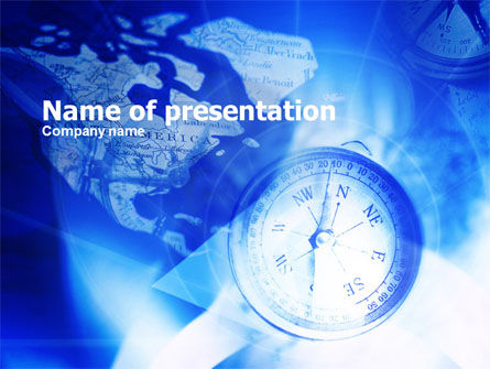 Compass On A Map PowerPoint Template, 00745, Education & Training — PoweredTemplate.com