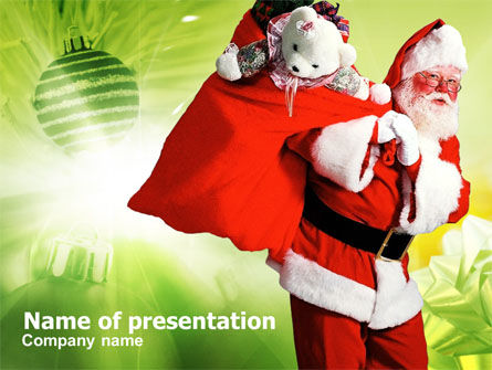 Holiday/Special Occasion: Santa Claus and Presents Bag PowerPoint Template #00747