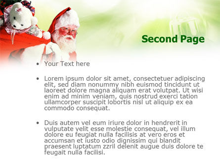 Santa Claus and Presents Bag PowerPoint Template, Slide 2, 00747, Holiday/Special Occasion — PoweredTemplate.com