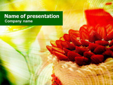 Strawberry Cake PowerPoint Template, 00752, Food & Beverage — PoweredTemplate.com