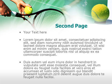 Tennis Court PowerPoint Template, Slide 2, 00754, Sports — PoweredTemplate.com