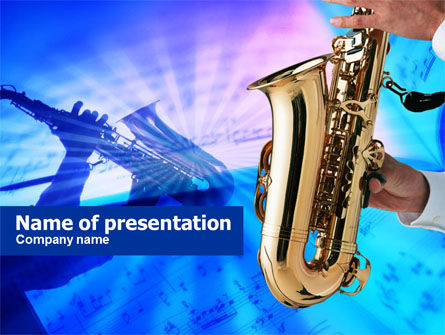 Jazz Saxophone PowerPoint Template, 00757, Art & Entertainment — PoweredTemplate.com