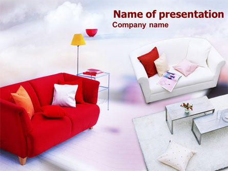 Red Sofa PowerPoint Template, 00778, Careers/Industry — PoweredTemplate.com
