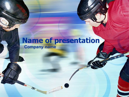 Sports: Ice Hockey Duel PowerPoint Template #00779