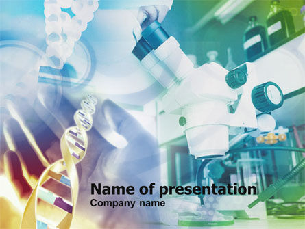 Medical: Microscope In DNA Research PowerPoint Template #00791